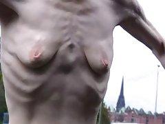 Seksi ji სუსტი, პატარა ცარიელი დაკიდული breasts